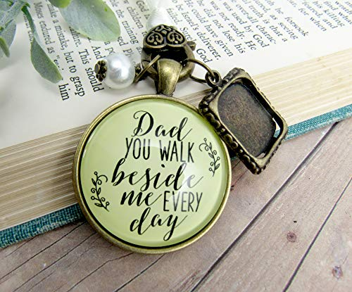 Bridal Bouquet Photo Charm Dad You Walk Beside Me Every Day Vintage Wedding Father Memorial Remembrance - Sons Bouquet
