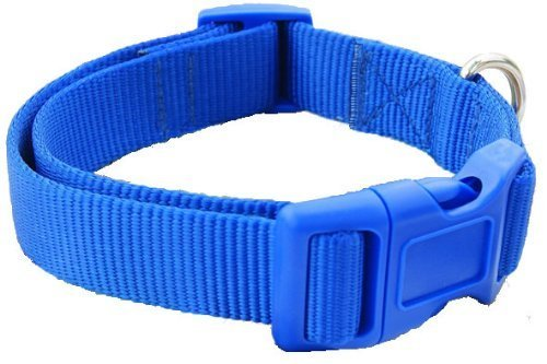 "Fashion Pet Collars and Leashes for Large Boy Dogs Blue Nylon Dog Collar 14-24"",Large(L) Size Blue"