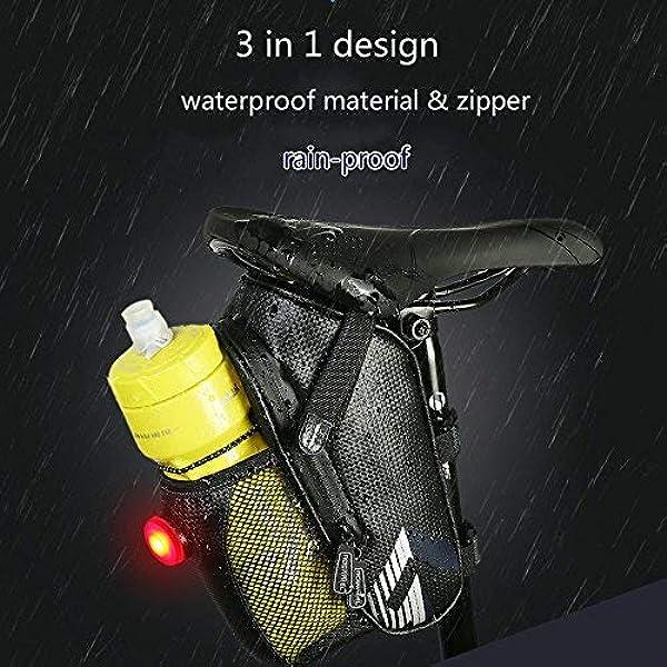 Bicicleta Paquete Cu/ña Impermeable para Varias Bicicletas y Monta/ña Aire Libre con Reflectante Bolsa para Sill/ín de Bicicleta Bolsa de Bicicleta de Cu/ña Negro Bicicleta Silla de Montar Bolsa