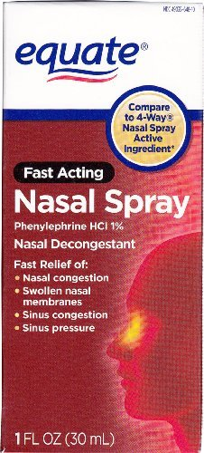 Compare to 4 Way Nasal Spray Active Ingredient. - Equate - Nasal Spray Four, 1 oz, Phenylephrine Hydrochloride, Decongestant Spray, (Compare to 4-Way)