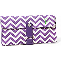 Cathy's Concepts Modern Personalized Chevron Makeup Roll Brush Set, Monogrammed F, Lavender