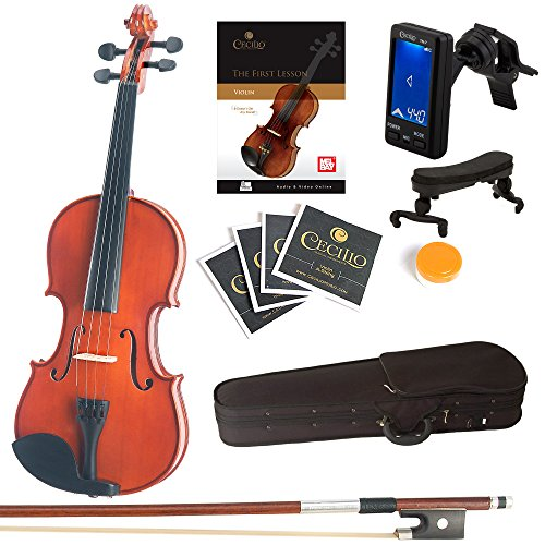 Mendini Full Size 4/4 Solid Wood Violin with Tuner, Lesson Book, Extra Strings, Shoulder Rest, Bow and Case, Natural Varnish Finish