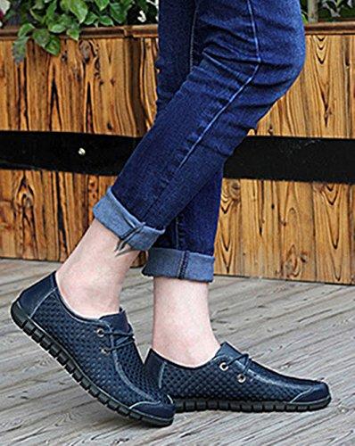 Zapatos Hombre Verano EN Casuales de Moda Bebete5858 Suave Cómodo de Zapatos Zapatos la Transpirable para Verano de Azul Marca Malla Resbalón Genuino Hombre Cuero de O1wq0x1f
