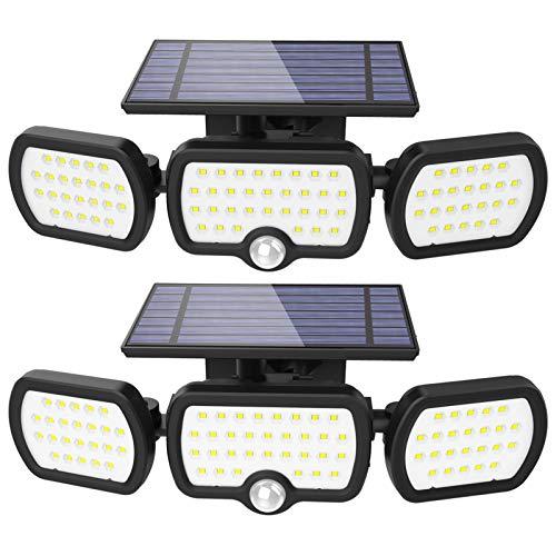 Solar Lights Outdoor 3 Heads, JESLED 80 LED Solar Motion Sensor Beveiligingslamp, IP65 Waterdichte Duurzame Zonne…