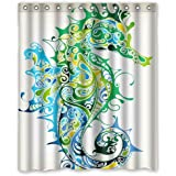 """D-Story Custom Unique Bath Curtain Seahorse Waterproof Polyester Fabric 60""""(w) x 72""""(h) Shower Curtain and Hooks"""