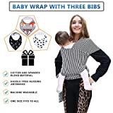 4-in-1 Baby Wrap Carrier Bundle with Three Premium Quality Bibs | Postpartum Belt | Nursing Cover | Unique for Baby Shower Gift | Stripes| Newborn Breastfeeding Sleepy Cover (Black and White Style 1)