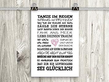 Artissimo, Poster Mit Spruch, Din A4, PE0041 DR, Tanze Im Regen