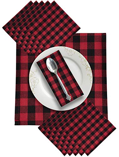 Dinner Napkins In Plaid Check Fabric-20x20 Red Black,Wedding Napkins,100% cotton napkins,Cocktail Napkins,Cloth Napkins,Fabric Napkins,Cloth Napkins Set of 12,Check Cloth Napkins,Machine Washable ()