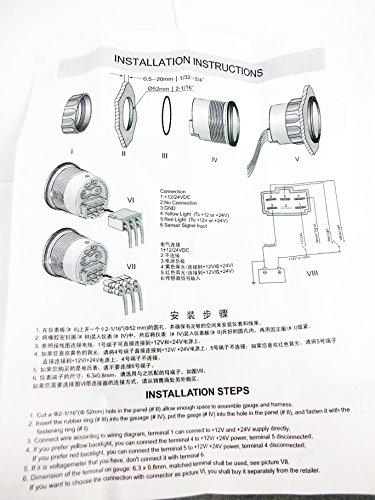 Wiring Diagram For 12v Indicators : Kus stainless steel rudder angle indicator gauge sensor