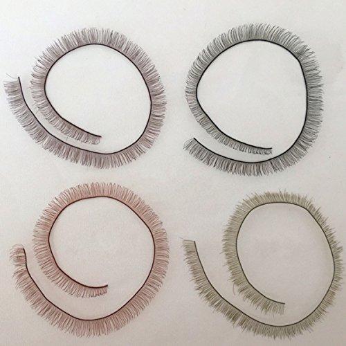 4PCS (20 * 8CM) Bjd/sd False Eyelashes Doll Eyelash Strip for Reborn Dolls Eyelashes - 4 Color:Brown/Black/red Brown/Light Grey