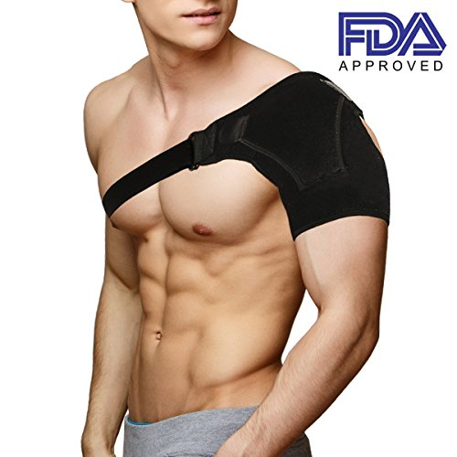 Shoulder Brace Rotator Cuff Support for Men and Women for Injury Prevention, Dislocated AC Joint, Arthritis, Tendonitis with Adjustable Strap, Pressure Pad + Breathable Neoprene