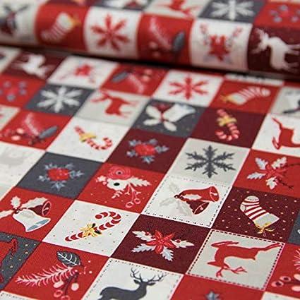 sustancias Werning Tela de algodón Navidad Patchwork Campanas Copos de Nieve Ciervo Advent – Precio DE