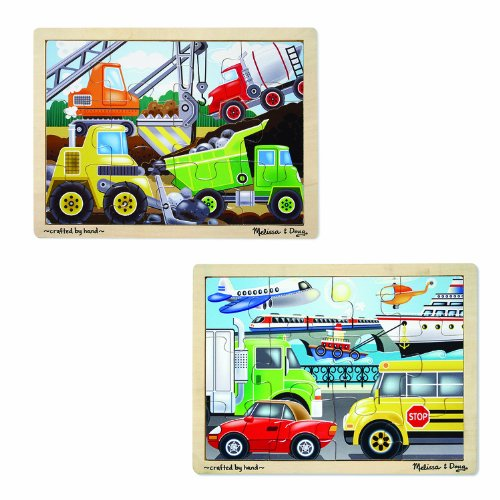Melissa & Doug 12 Pc Jigsaw Bundle - Vehicles & Construction (12 Piece Wooden Puzzle)