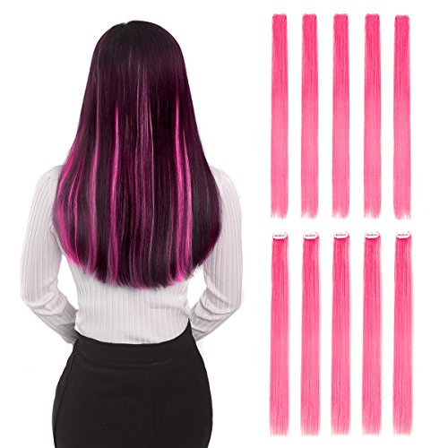 "Colored Clip in Hair Extensions 20"" 10pcs Straight Fashion Hairpieces for Party Highlights Pink"