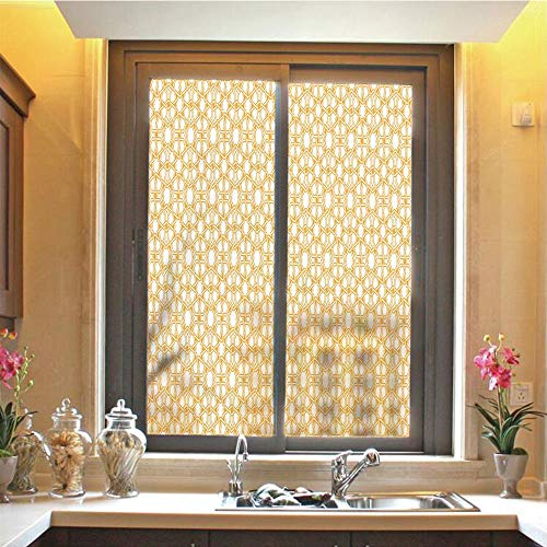 Sacred Decor 3D No Glue Static Decorative Privacy Window Films, Traditional Geometry Pattern with Moroccan Arabic Ethnic Effects Artwork Print,17.7