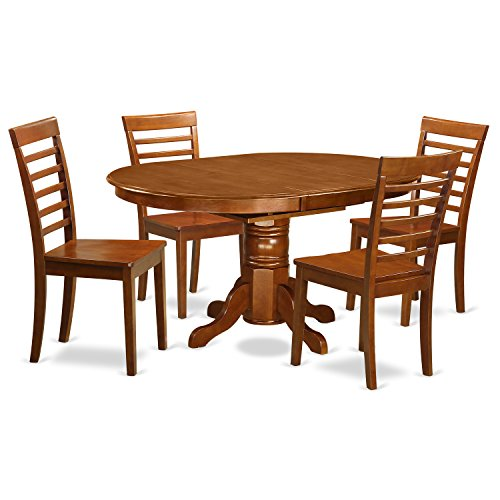 East West Furniture AVML5-SBR-W 5-Piece Dining Table Set ()
