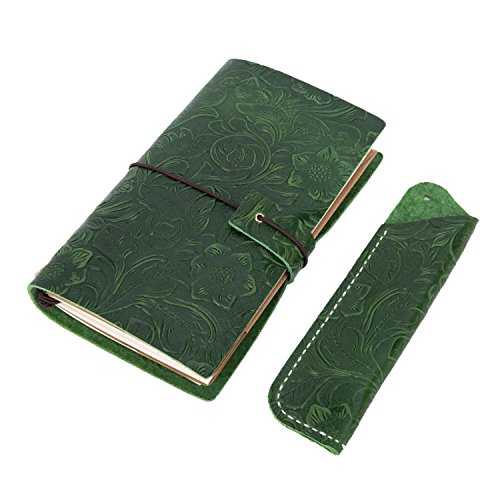 Retro Leather Embossed Travel Notebook,Ubaymax 100% Handmade Flower Embossed Travel Planner with Pen Case Holder M 6.69x4.43 inch Dark Green