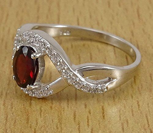 Banithani 925 en argent massif mode anneau grenat pierre cadeau de bijoux pour les femmes