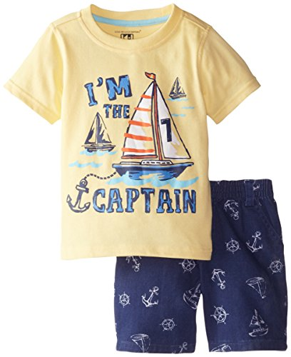 Kids Headquarters Little Boys' Tee with Shorts Sail Boat, Yellow, 3T