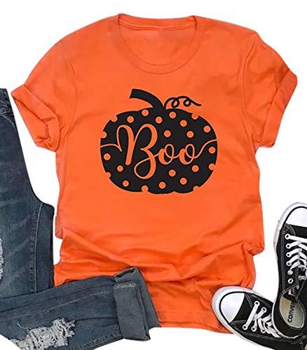 MAXIMGR Women's Halloween T-Shirt Boo Cute Pumpkin Graphic Fall Tees Top Girls Short Sleeve Halloween Top Shirts ()