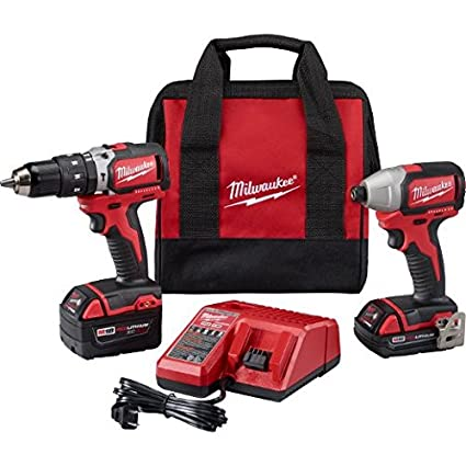 milwaukee 2799-22cx m18 cmpt brushless hammer drill impact kit ...