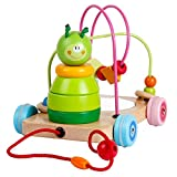 baoduole toys Wooden Pull Along Toys Rolling Bead Maze Game Caterpillar Stacking Blocks Toy Set for Baby Toddlers Boys and Girls Early Education Age 1 Years Old and Up