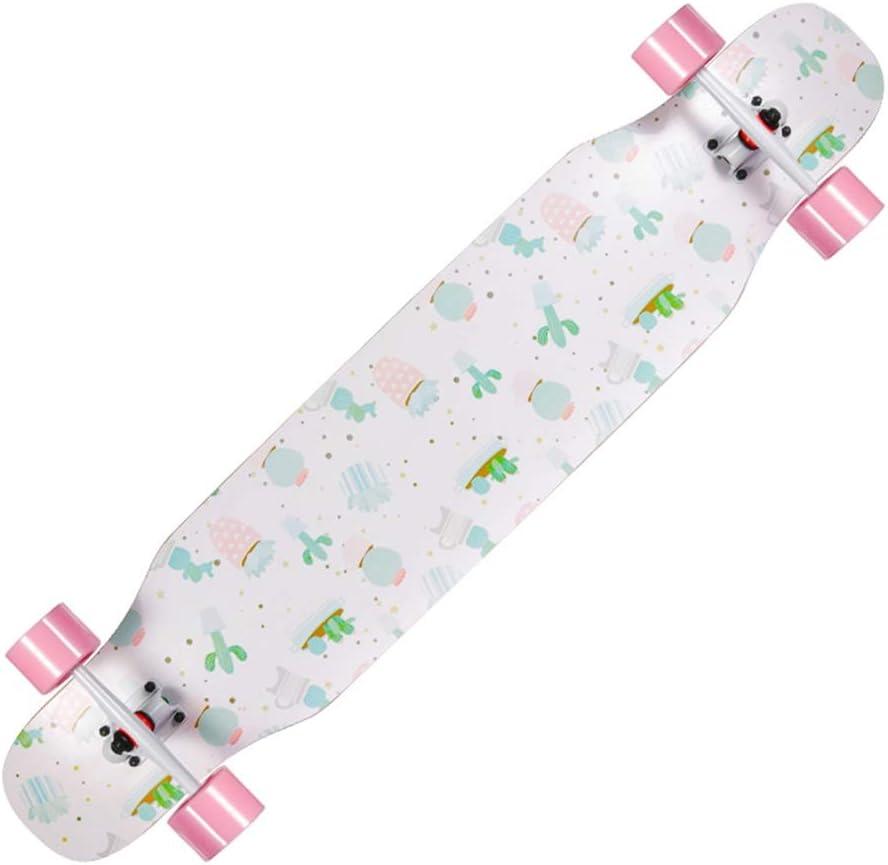 ロングボードスケートボードコンプリートスケートボード標準スケートボードプロスケートボード4輪ダブルキックテール初心者向け男の子女の子子供向け大人 B