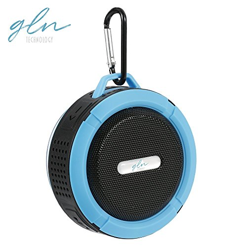 Gln Waterproof Bluetooth Shower Speaker Outdoor Portable Wireless Travel Speaker with Built-in Microphone (Blue) ()