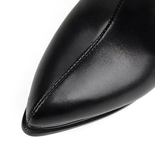 VogueZone009 Damen Spitz Zehe Hoher Absatz Blend-Materialien Niedrig-Spitze Stiefel Schwarz