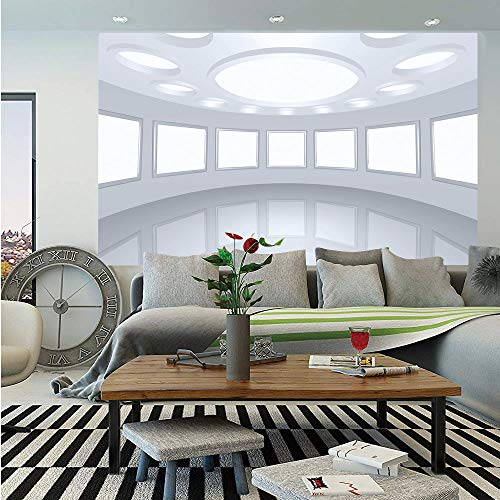 SoSung Modern Decor Huge Photo Wall Mural,3D Visualization of Futuristic Interior Empty Picture Gallery Architecture,Self-Adhesive Large Wallpaper for Home Decor 108x152 inches,White Coconut