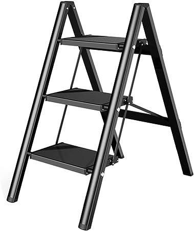 Escaleras multifunción Escalera Tres-Etapa De Plegado Pequeña Escalera Heces Casa Multi-función De Soporte De Flor De La Aleación De Aluminio (Color : Black, Size : 45 * 67.5 * 81cm): Amazon.es: Hogar