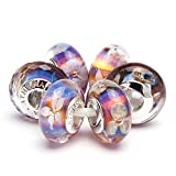 ATHENAIE 925 Sterling Silver Core Romantic Purple Murano Glass Charm Beads Kits Fit For European Bracelets and Necklaces