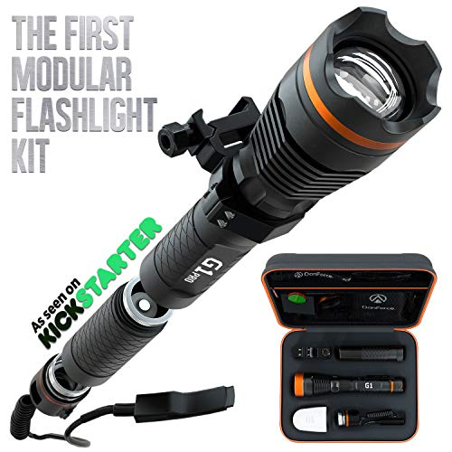 DanForce G1 PRO:Patented Tactical Flashlight with Holster, Weapon Mount, Remote Switch. Rechargeable High 1080 Lumens Turns To 7 LED Flashlights: Rifle, Large, EDC, Lantern, Bike Light, Red & Green