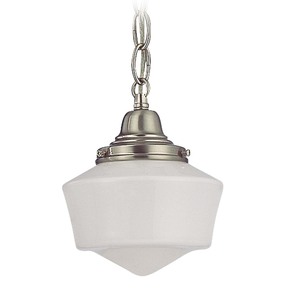 6 Inch Vintage Schoolhouse Mini Pendant Light With Satin Nickel Finished Chain and Opal White Milk Glass Shade