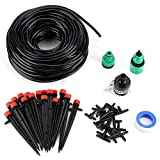 Delaman Irrigation System 82ft Auto Atomization + Drip Irrigation Kit 25 meter 4/7 hose, Generic connector, Faucet connector, Ptfe tape, 19pcs 4/7 Tee Joint, 20pcs Eight-hole connector