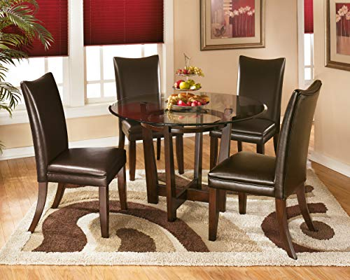Signature Design by Ashley - Charrell Dining Upolstered Side Chair - Set of 2 - Contemporary Style - Medium Brown - SET OF TWO CLASSIC DINING ROOM CHAIRS: The contemporary Parsons shape of this faux leather upholstered dining chair is a comfortable addition to any dining room HANDSOME LINES: Dining chair with a cushioned seat and back is crafted from wood and manmade wood RICH LEATHER LIKE FEEL: Easy to clean medium brown faux leather upholstery. Legs feature a faux wood finish - kitchen-dining-room-furniture, kitchen-dining-room, kitchen-dining-room-chairs - 51tfrcrnwqL -
