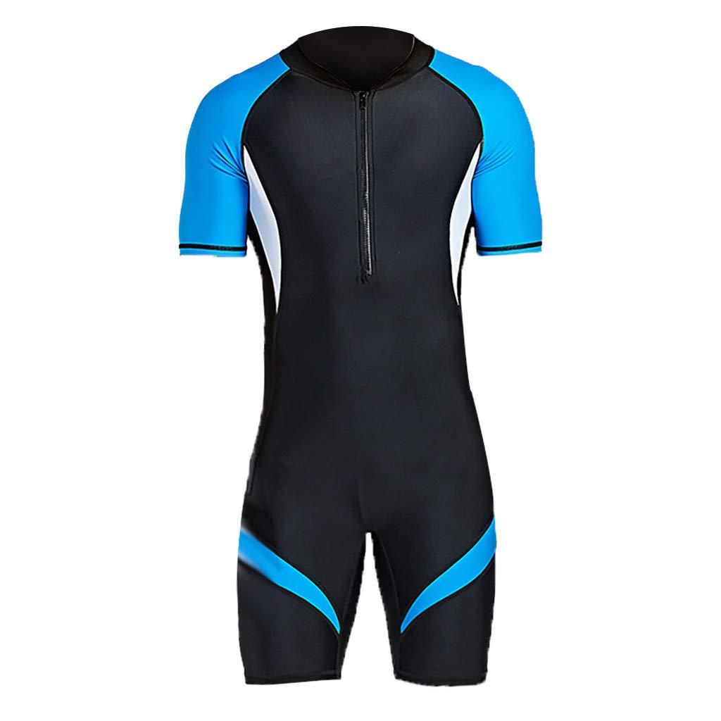 Shorty Wetsuit for Men New Neoprene Men's Back Zip Scuba Diving Suit Rash Guard Swimsuit (XL, Blue) by Doad Wetsuit & Surfing