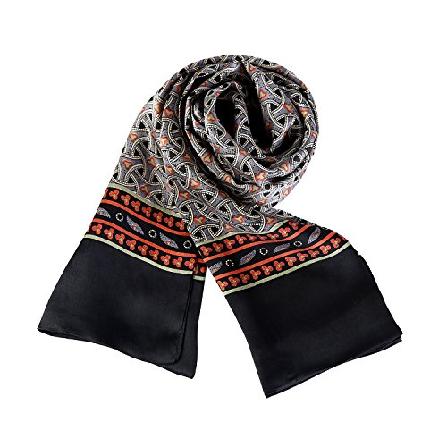 - Charmeuse Satin Silk Scarf for Men (Black with Check Pattern)