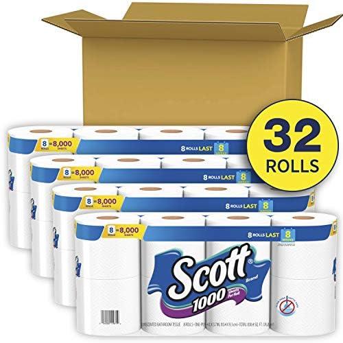 Scott 1000 Hojas Por Rollo De Papel Higiénico 32 Rollos 4 Paquetes De 8 Papel Higiénico Health Personal Care