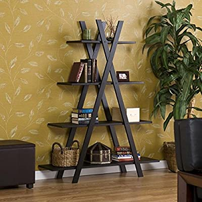 Upton Home - Modern Black 'X' Etagere Featuring Four Sturdy Shelves and a Clean Metal Tube Construction (For Living room, Bedroom, Any room)