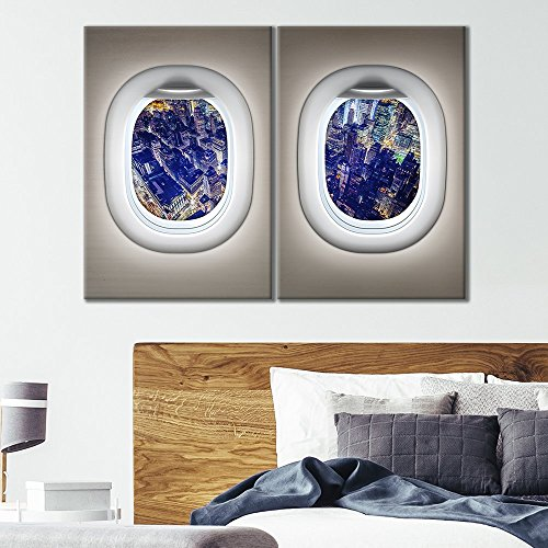 2 Panel White Plane Window Viewing a City Skyline at Night x 2 Panels