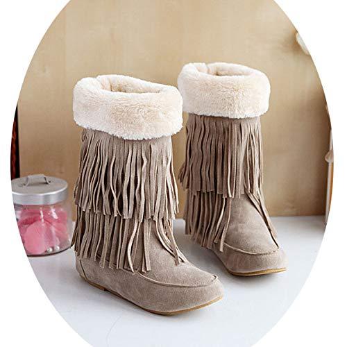 Beige Zh En Pour Bottes Chaussures Grande Hiver Plats De Glands Automne Femmes Taille Coton Et wAaxCWzqw6