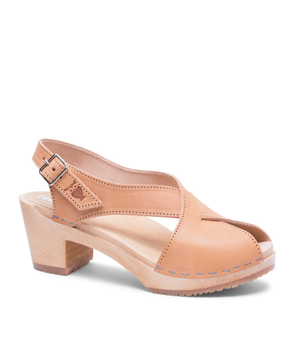 Sandgrens Swedish High Heel Wood Clog Sandals For Women | Morocco in Nude, US 7 EU 37