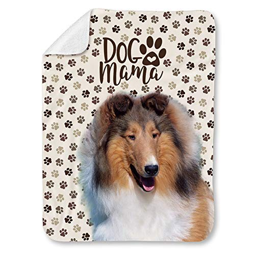 NIWAHO Chatham Collies Dog and Paws Themed Printed Super Soft Sherpa Blanket - Double-Deck Thickening Lambs Wool, Dog MOM Gift (31