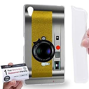 Case88 [Sony Xperia Z5 Premium] Gel TPU Carcasa/Funda & Tarjeta de garantía - Art Drawing Yellow Retro Old Style Camera 1888