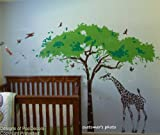 PopDecors - Africa tree and giraffe- 107 inch W - Custom Beautiful Tree Wall Decals for Kids Rooms Teen Girls Boys Wallpaper Murals Sticker Wall Stickers Nursery Decor Nursery Decals