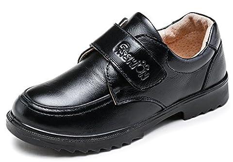 SKOEX Boy's Leather School Uniform Black Oxford Dress Shoe(Toddler/Little Kid/Big Kid) US size 2 - 2 Leather Casual Shoe