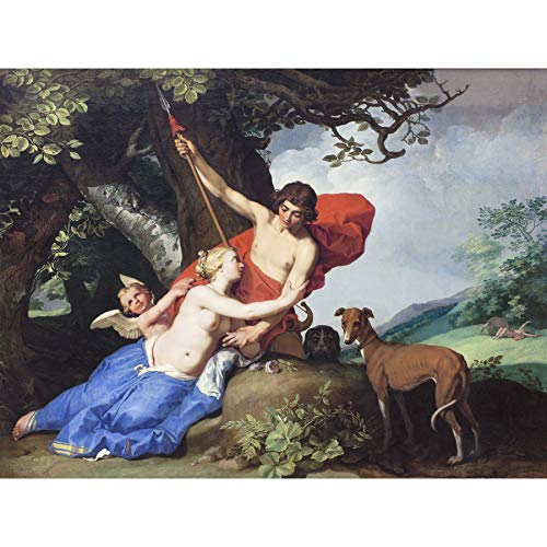 Bloemaert Venus Adonis Greek Myth Painting Premium Wall Art Canvas Print 18X24 Inch