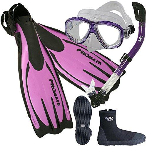 Scuba Dive Fins Boots Dry Snorkel Mask Gear Set, Purple, Mens 9 / Womens 10 (Best Affordable Snorkel Set)
