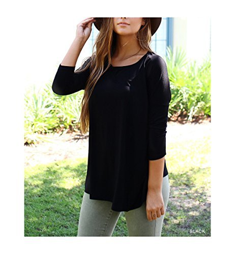 Piko Women's 1988 Famous 3/4 Sleeve Bamboo Top Loose Fit (Small, Black)